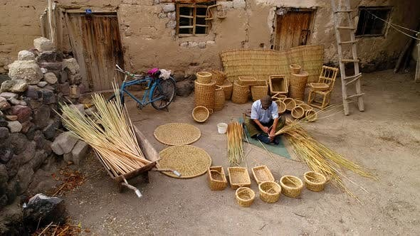 Thumbnail for Aerial View Traditional Craft Of Weaving Baskets