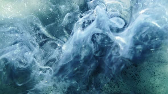 Thumbnail for Color Smoke Background Blue Glitter Paint Water