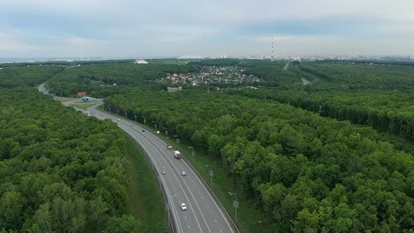 Top View of the Motorway From a Quadrocopter. Transport Movement. Side View. Samara, Russia