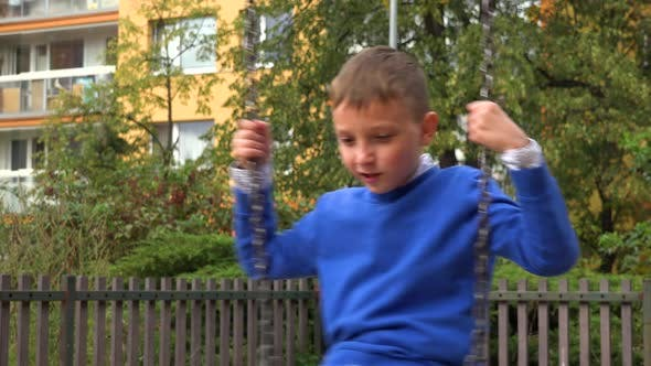 Thumbnail for A Young Boy Plays with a Swing at a Playground