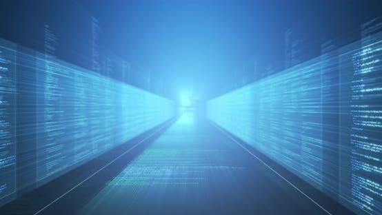 Thumbnail for Animation digitaler Informationen auf blauem Hintergrund