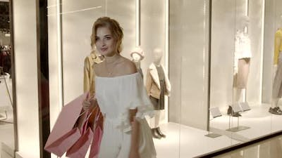 Young Girl In Fashion Boutiques