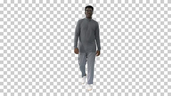 Young african american man in grey casual, Alpha Channel