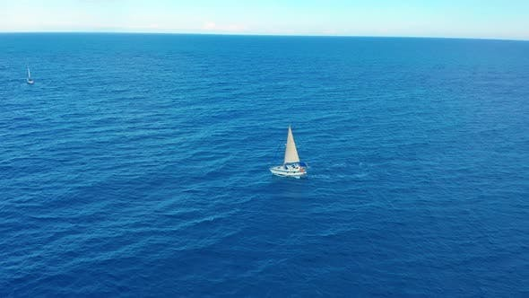 Thumbnail for Yacht Sailing on Opened Sea. Sailing Boat. Yacht Seen From Drone. Yachting, Aerial