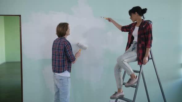 Thumbnail for Cheerful Diy Couple Doing Makeover of New House