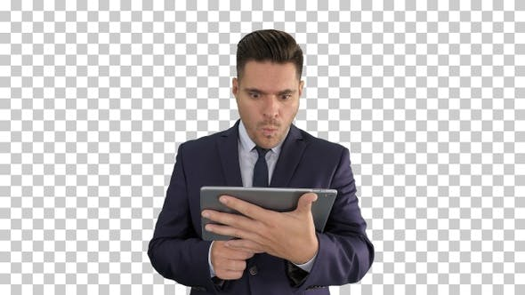 Thumbnail for Shocked businessman watching somethng on digital tablet Alpha
