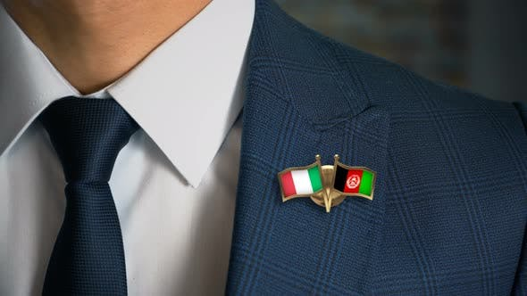 Businessman Friend Flags Pin Italy Afghanistan