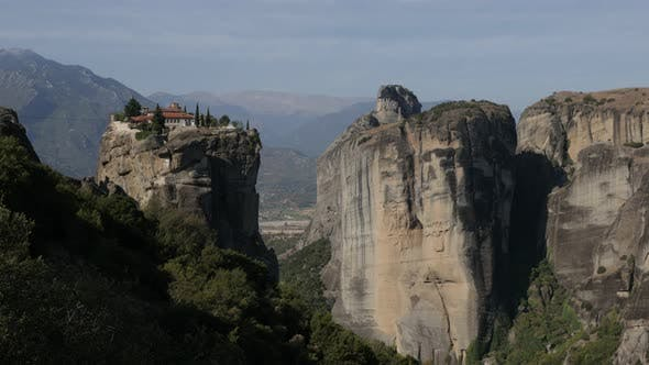 Monastery of the Holy Trinity on top of the Meteora rocks 4K tilting video