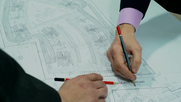 Thumbnail for Engineers Planning the City Construction – Architectural Drawing