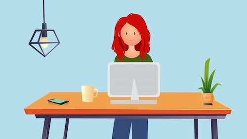 Woman using laptop on blue background
