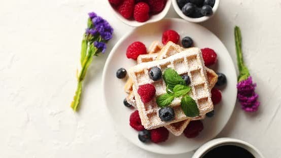 Thumbnail for Coffee and Berries Near Waffles
