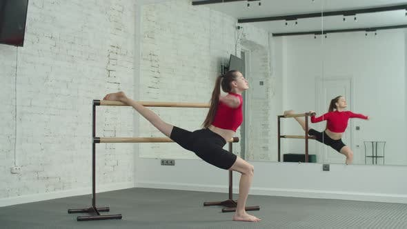 Sporty Female Doing Barre Workout in Fitness Studio
