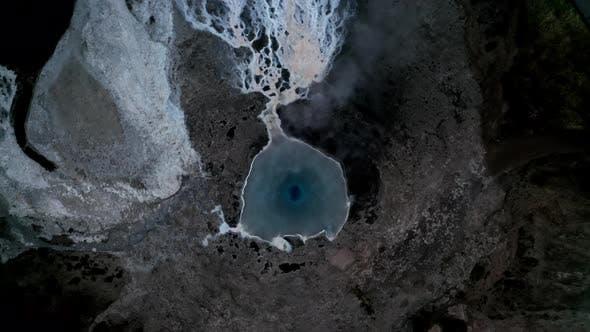 Drone Above Steaming Geothermal Pool