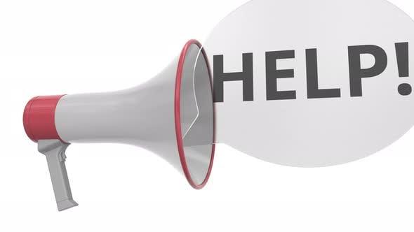 Grey Loudspeaker with HELP Message on Speech Bubble