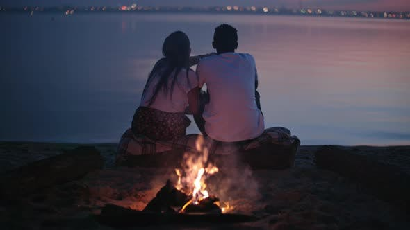 Thumbnail for Couple Enjoying Scenery on Beach at Dusk