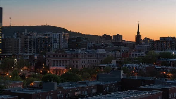 Thumbnail for Montreal, Canada, Timelapse  - View of The Plateau from Day to Night