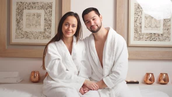 Attractive Young Couple Relaxing in a Spa Centre.