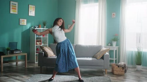 Ballet Dancer Is Practicing at Home Alone