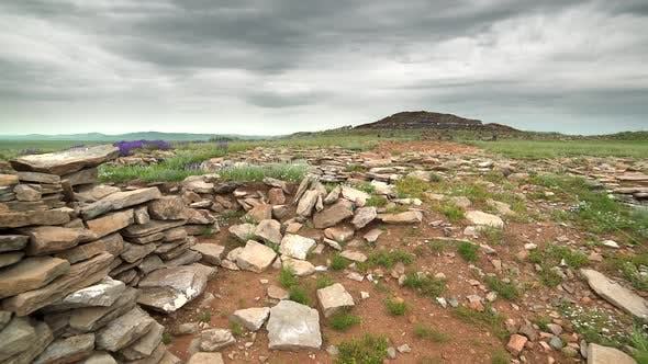 Stone Walls at Historical Archaeological Excavation Site