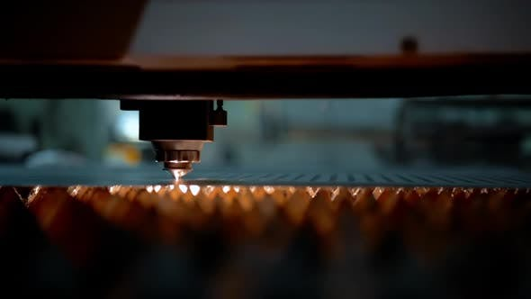 Machine for Laser Cutting of Metal Makes the Cutting of a Metal Sheet.
