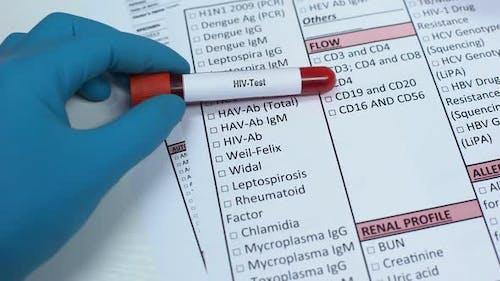 HIV, Doctor Checking Disease in Lab Blank, Showing Blood Sample, Awareness
