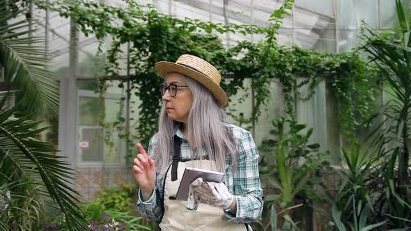 Thumbnail for Grey-Haired Senior Woman in Hat Working with I-Pad in Own Greenhouse