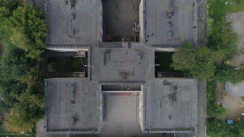 Top down Aerial view of empty preschool building 01