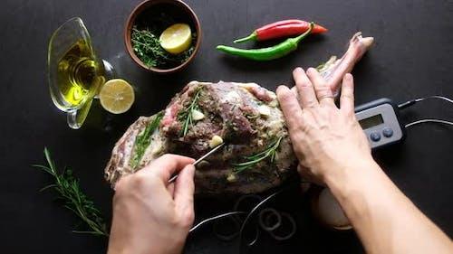 Raw Lamb Leg, Marinated with Herbs