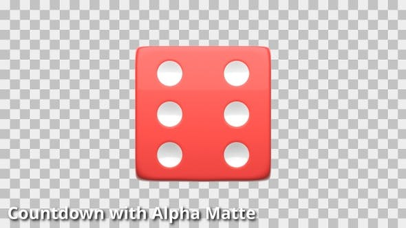 Thumbnail for Red and White Die Countdown on Black with Alpha Matte