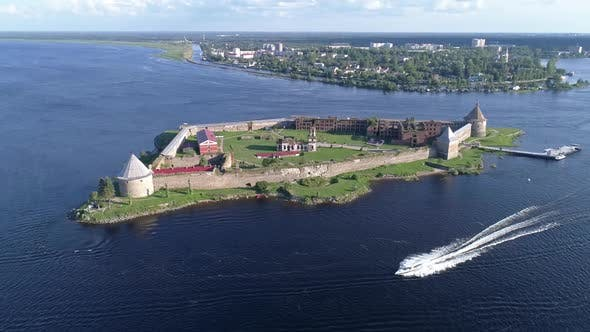 Thumbnail for Aerial of Fortress Oreshek on Island Neva River