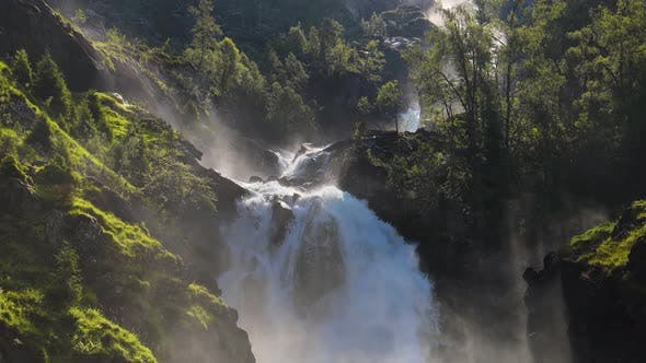 Thumbnail for Latefossen is One of the Most Visited Waterfalls in Norway and is Located near Skare and Odda