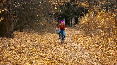 A little girl rides a bike in the autumn Park and falls.