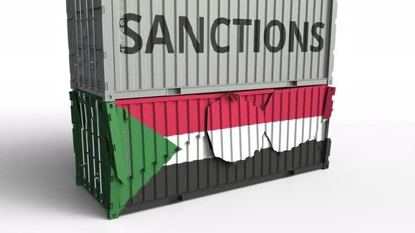 Thumbnail for Container with SANCTIONS Text Breaks Container with Flag of Sudan