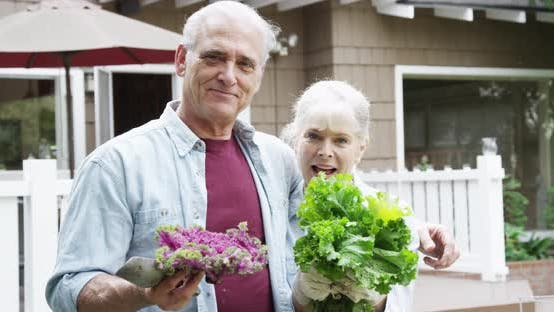 Thumbnail for Senior couple smiling with vegetables in garden