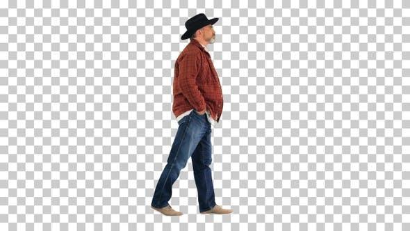 Senior farmer with hat walking, Alpha Channel