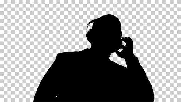 Silhouette businessman dancing, Alpha Channel