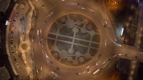 Krasnoyarsk Russia23 Apr 2021 Aerial Night Hyperlapse of Roundabout in the City Center