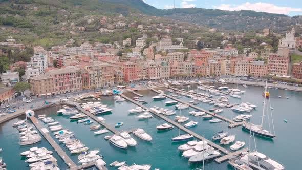 Thumbnail for Aerial Shot Santa Margherita Ligure Is a Resort Town on the Ligurian Coast in Italy