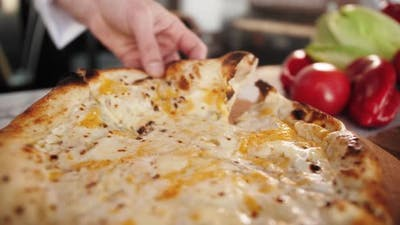 Chef Preparing Sour Cream and Cheese Pizza Cooking Italian Pizza