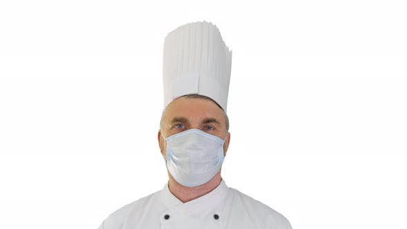 Thumbnail for Male Chef Cook Wearing Face Protective Medical Mask for Protection From Virus Disease on White