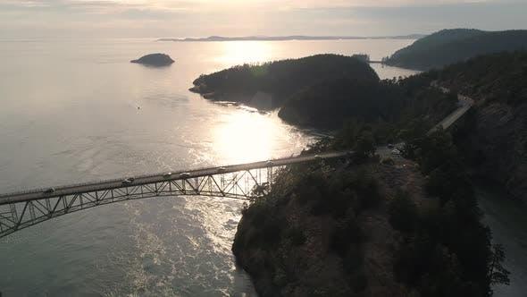 Thumbnail for Aerial Of Cars On Weekend Vacation Traveling Across High Ocean Bridge Between Islands