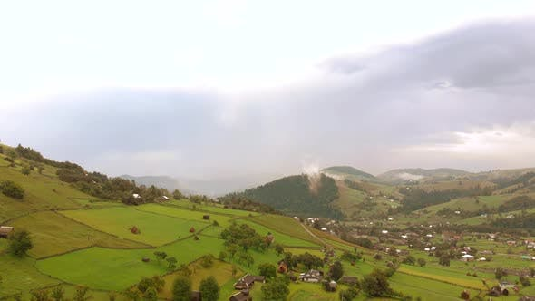 Countryside Landscape in Mountains Aerial View
