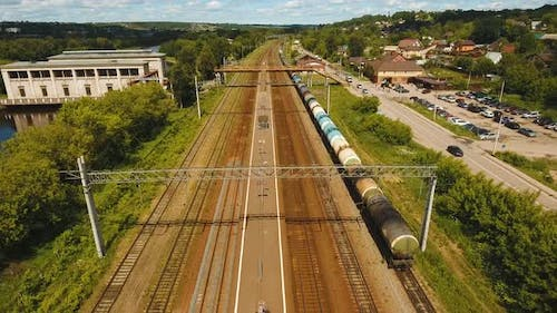 Aerial View Over Railway