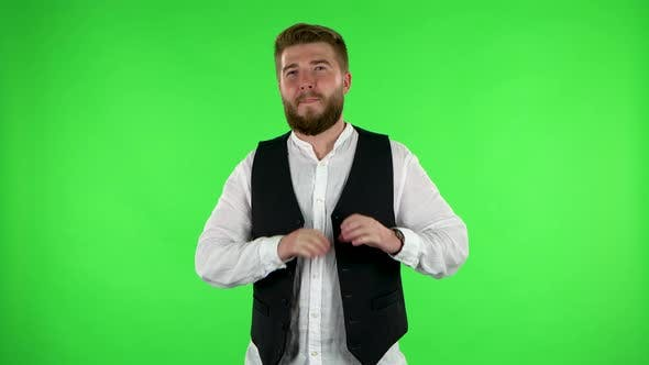 Thumbnail for Man Smiles and Showing Heart with Fingers Then Blowing Kiss. Green Screen