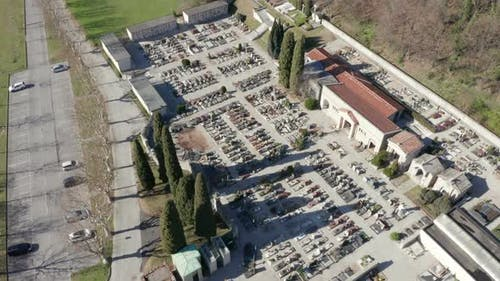 Cemetery Aerial View Sunny Winter