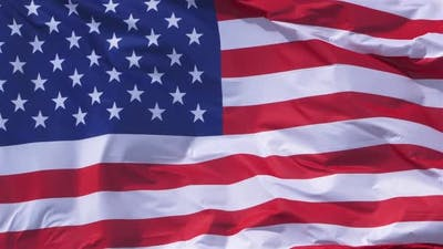 The national USA flag waving in the wind.