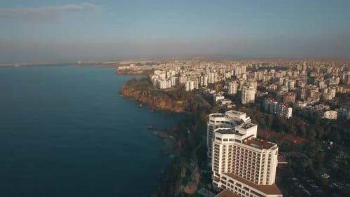 Aerial View of Antalya Coastal Cityscape, Turkey