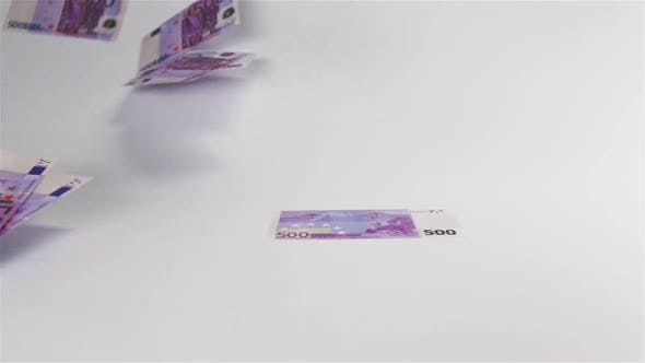 Thumbnail for Euro Banknotes Flying in the Air and Landing on White Surface