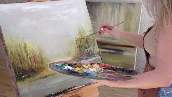 Thumbnail for Picture with Nature Is Drawn By Professional Artist Art Workshop