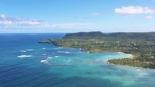 4k 24fps Drone Shoot Of The Caribean With Mountains In A Sunny Day